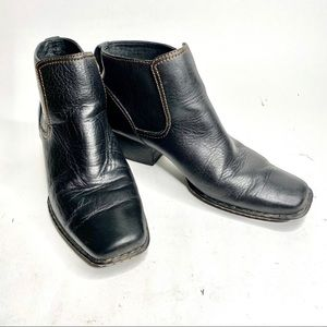 Born Leather Square Toe Ankle Boots